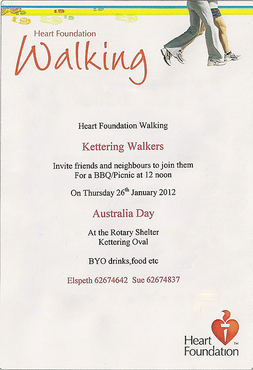 Invitation to Kettering Heart Foundation Walkers Australia Day BBQ
